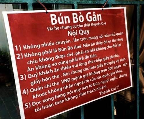 "phuong tra lai bang ""bun bo gan"" nhung de nghi khong treo bang noi quy lai - 1"