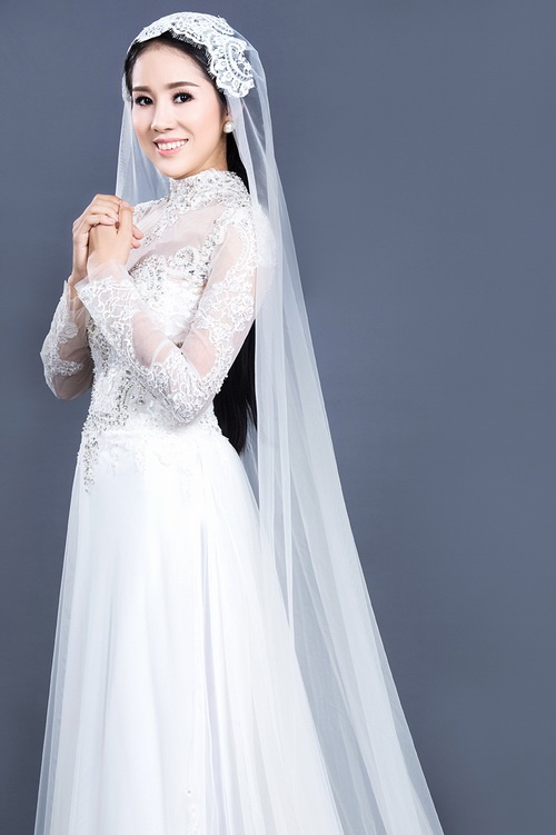 """Lê Phương mặc áo dài cưới """"không đụng hàng""""-7"""