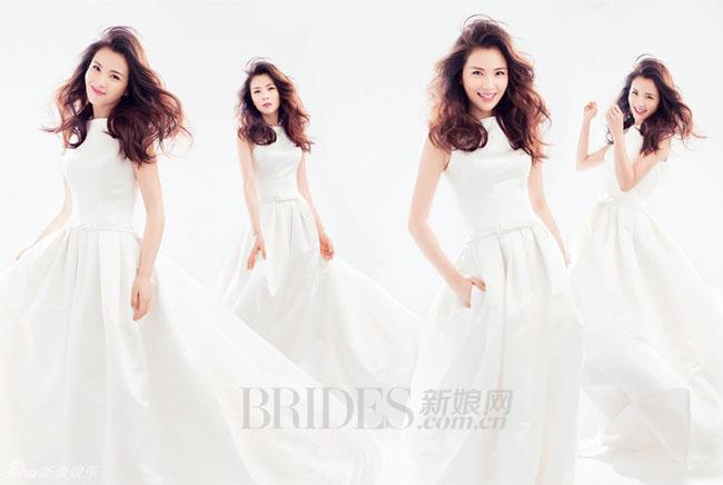 Nghấp nghé tuổi 40, và đã là bà mẹ 2 con, Lưu Đào vẫn vô cùng quyến rũ khi khoác lên mình bộ váy cưới tinh khôi.