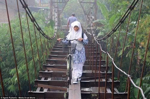 Trẻ em Indonesia đến trường trên cây cầu tử thần-6