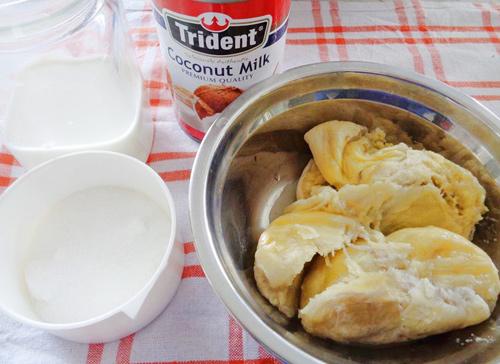 Cách làm kem sầu riêng không cần máy - 1