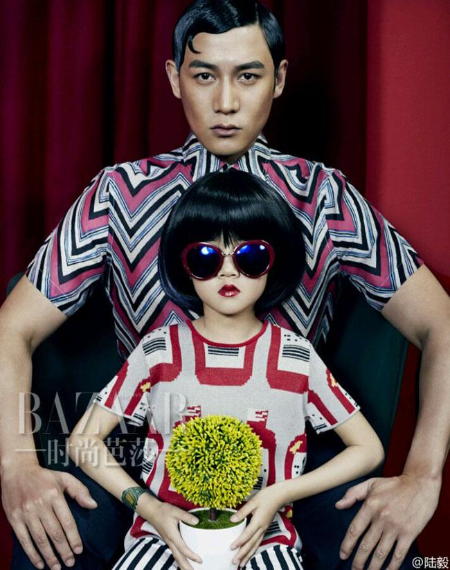 Gia đình nhỏ của nam diễn viên Lục Nghị 'đại háo' tạp chí Harper's Bazaar số tháng 6/2015 với những hình ảnh vô cùng độc đáo.