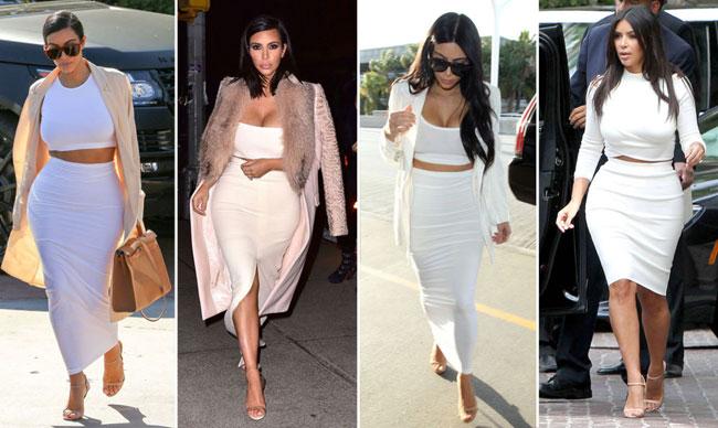 1. Áo lửng màu trắng kết hợp với chân váy bút chì và xăng đan màu trung tính.