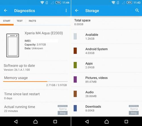 smartphone m4 aqua ban 8 gb cua sony chi dung duoc 1,26 gb - 2