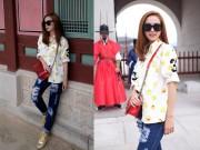 Thời trang - Minh Hằng mặc 'xì tin' vui chơi ở Hàn Quốc