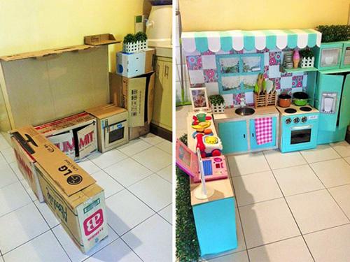Nhà bếp từ thùng giấy cho bé đẹp ngang ngửa đồ chơi tiền triệu-9