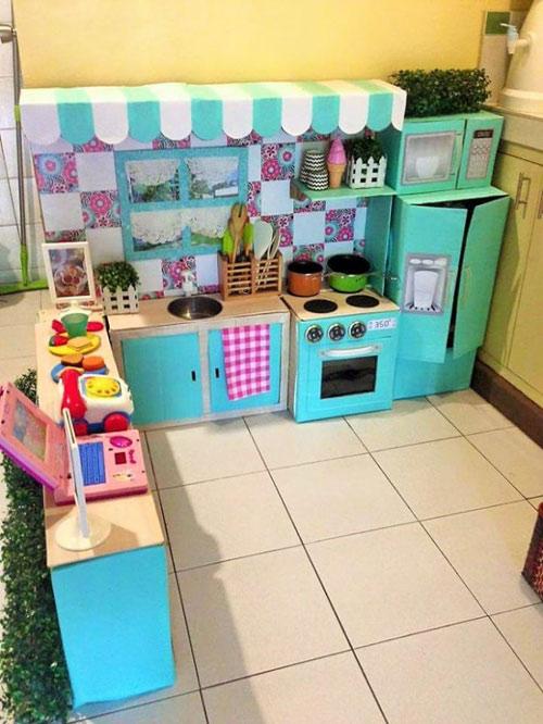 Nhà bếp từ thùng giấy cho bé đẹp ngang ngửa đồ chơi tiền triệu-4