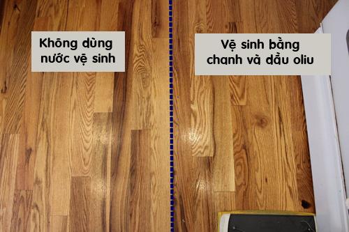 ve sinh san go sang bong bang chanh va dau oliu - 3