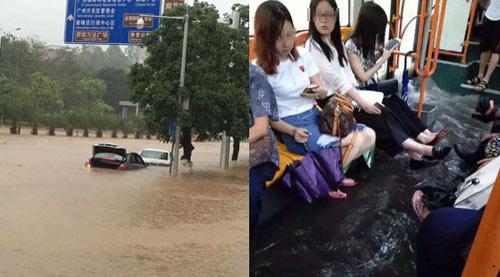 Mưa lớn gây ngập lụt, người dân Quảng Châu lướt ca nô trên phố-1