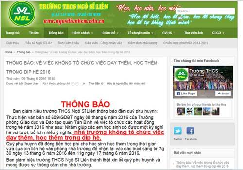 truong hoc tra lai tien hoc them cho hoc sinh - 2