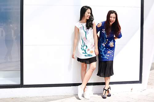 Ái Phương, Hoàng Oanh dạo phố với thời trang vẽ tay-14
