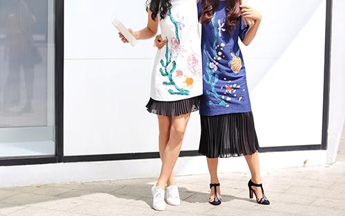 Ái Phương, Hoàng Oanh dạo phố với thời trang vẽ tay-13