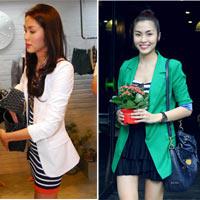 'Bắt chước' Hà Tăng mặc áo khoác blazer