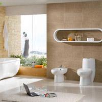 Làm sạch sàn và tường nhà vệ sinh