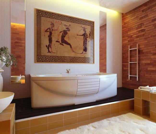 Phòng tắm theo phong cách của Hy Lạp với bức trang trang trí các nhân vật trong thần thoại. Kiểu dáng hiện đại của bồn tắm mang lại sự cuốn hút ánh mắt nhìn.