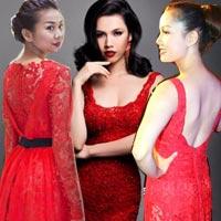 Mỹ nhân Việt đẹp ngất ngây với đầm ren đỏ