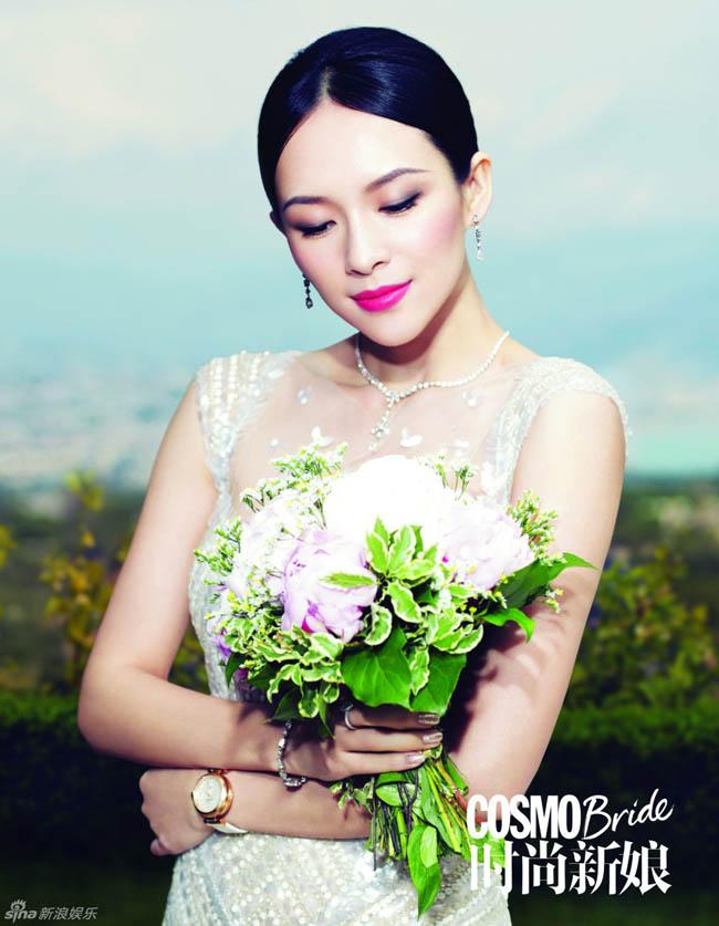 Người đẹp của làng nghệ Hoa ngữ chuẩn bị đón tháng 8 trong trang phục áo cưới tinh khôi trên tạo chí Cosmo Bride.