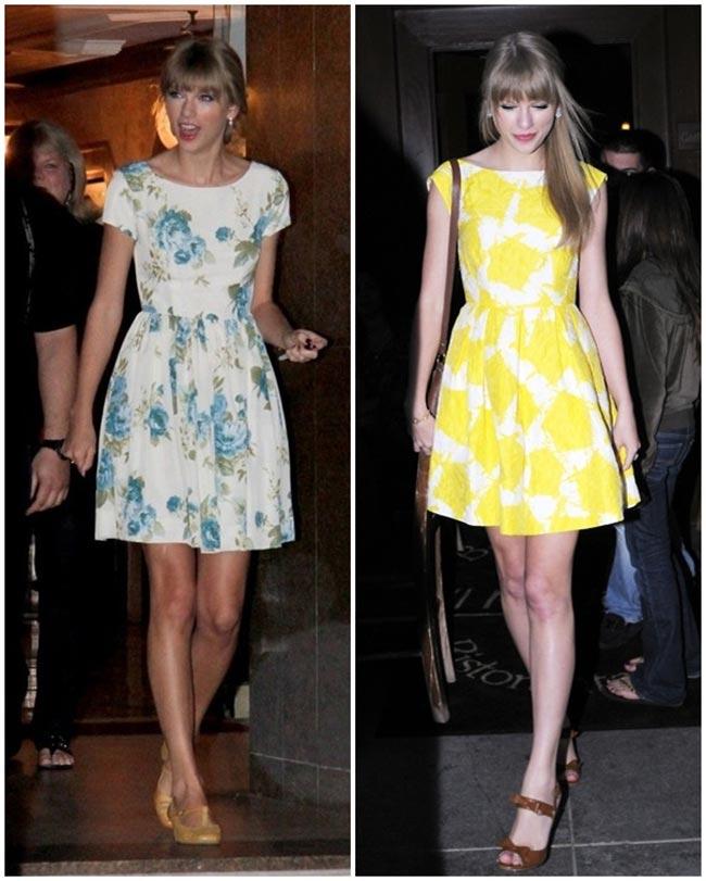 Taylor Swift rất chuộng những kiểu đầm liền, có ống tay in họa tiết hoa rực rỡ.