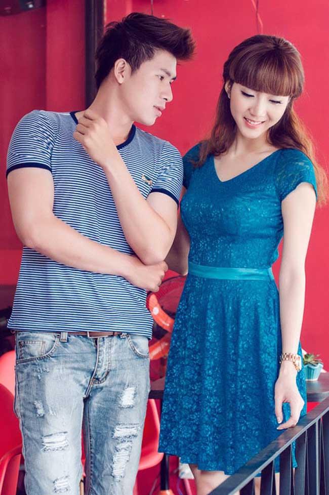 Ngọc Quyên dịu dàng váy xanh, e lệ bên 'bạn trai' trong shoot hình thời trang.