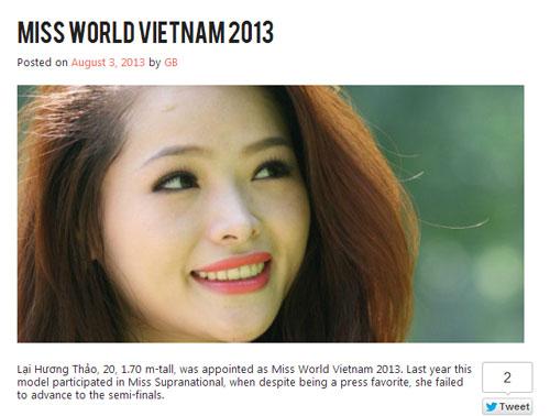 lai huong thao den voi miss world 2013? - 2