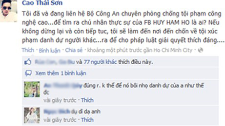 tuan qua: cao thai son co bi gia mao facebook? - 4