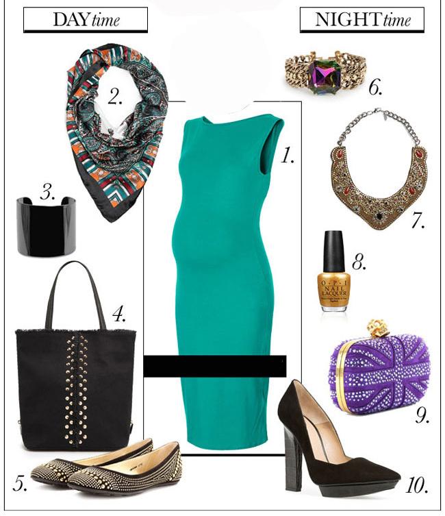 Váy bầu luôn là lựa chọn số 1 cho chị em 'đeo bao lô ngược'. Các mẹ làm công sở hoặc hay đi dự tiệc có thể chọn váy bầu ôm sát kết hợp với khăn, vòng cổ, túi sách và giầy phù hợp cho từng hoàn cảnh ban ngày hoặc buổi tối.