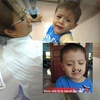 """Con trai Thanh Thúy """"khóc như mưa"""" ngày đầu đi học"""