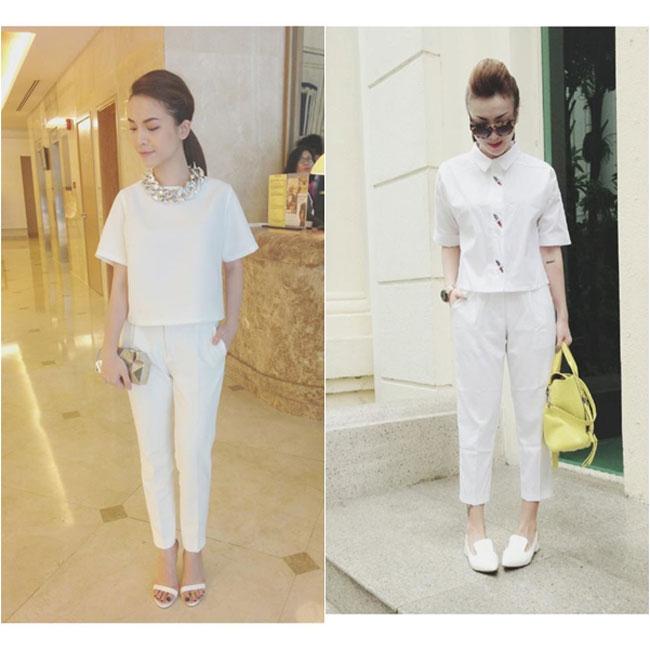 2 chị em Song Yến thời thượng trong cây trắng sành điệu. Cùng sở thích về thời trang nên Song Yến có phong cách khá giống nhau.