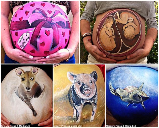 Bộ sưu tập những bức tranh vẽ trên bụng bầu này là của mẹ Carrie Preston, 27 tuổi, hiện đang sống tạiTruro, Cornwall, Anh. Cô cho biết mình đã vẽ được hơn 130 bức tranh khác nhau cho các mẹ bầu và thậm chí còn mở cả một công ty dịch vụ chuyên vẽ các tác phẩm độc đáo này mang tên 'My Little Sweetpea'.