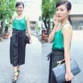 Thời trang - Văn Mai Hương sành điệu với áo hai dây ra phố