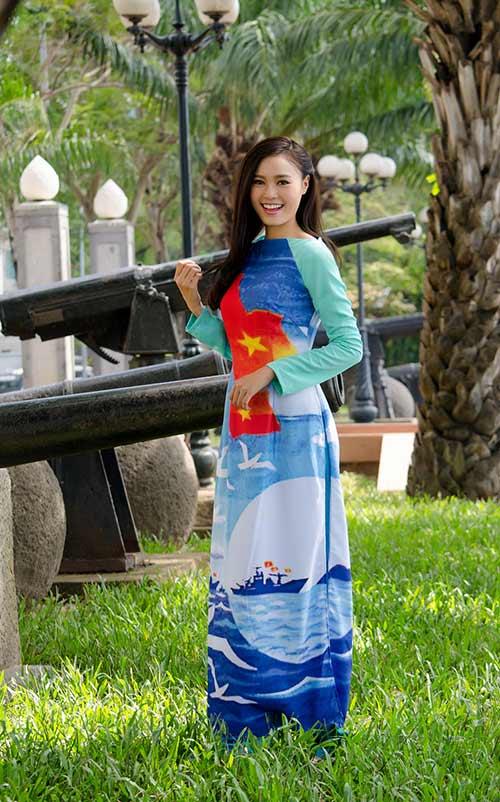 lan ngoc, le phuong dien ao dai huong ve bien dao - 5