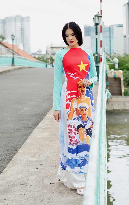 lan ngoc, le phuong dien ao dai huong ve bien dao - 8