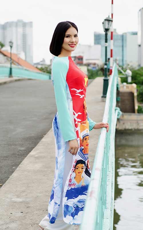 lan ngoc, le phuong dien ao dai huong ve bien dao - 9