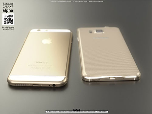 iphone 6 va galaxy alpha vien kim loai do thiet ke - 2