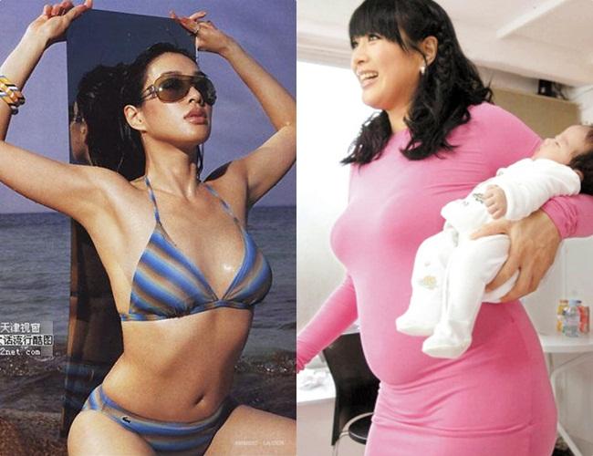 Chung Lệ Đề là nữ diễn viên nổi tiếng với số đo 3 vòng nóng bỏng. Tuy nhiên sau sinh con, vòng 2 phẳng lì của cô đã biến mất...