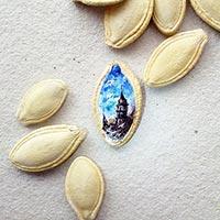 Nghệ thuật vẽ tranh sơn dầu trên... hạt bí, sợi mì