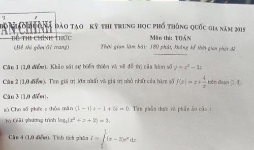 Dịch MERS vào đề thi tốt nghiệp môn toán THPT quốc gia-1