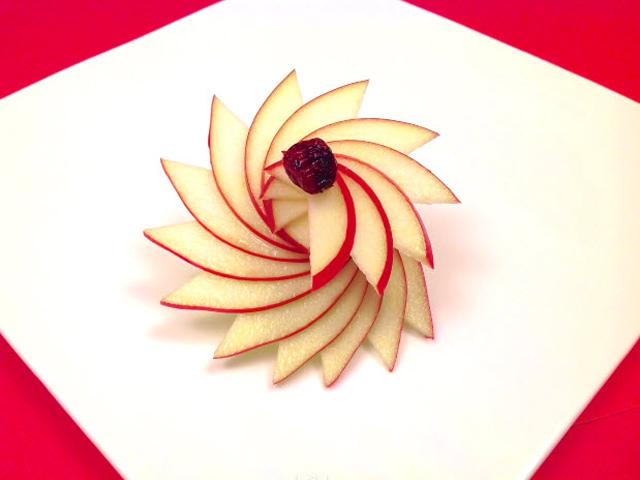 Tỉa hoa táo trong nháy mắt trang trí đĩa ăn-4
