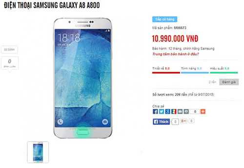 smartphone galaxy a8 co gia 10,99 trieu dong? - 2