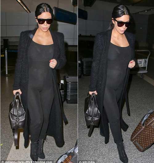 kim kardashian khoe tron bung bau trong bo do xuyen thau - 3
