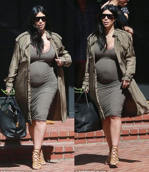 Kim Kardashian khoe thân hình đẫy đà với váy mỏng bó sát-2