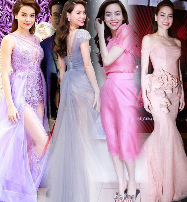 Hồ Ngọc Hà là một trong những người đẹp sở hữu rất nhiều váy đầm pastel lộng lẫy, Nhờ sở hữu làn da trắng muốt nên bà mẹ một con luôn xuất hiện rất nổi bật và lộng lẫy khi diện kiểu váy đầm này.
