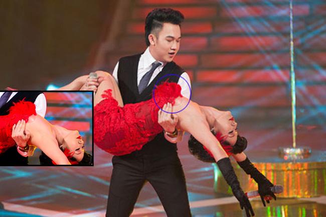 Diễn viên Thanh Thúy từng gặp phải sự cố 'ngượng chín mặt' khi để lộ miếng dán ngực trong lúc thực hiện một động tác khó tại chương trình Bước nhảy hoàn vũ 2011.