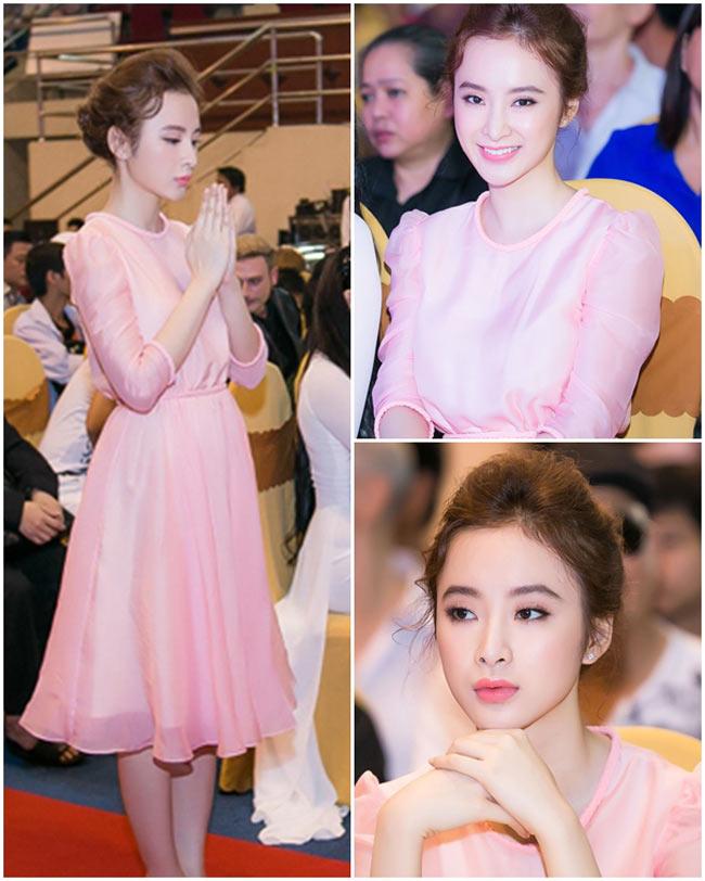 Hồng pastel là một trong những gam màu yêu thích của Angela Phương Trinh. Nhờ sở hữu làn da trắng hồng nên bà mẹ nhí thường xuyên chọn gam màu này để tôn da.