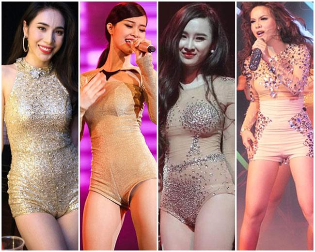 Những bộ boydysuit màu da đang chiếm số lượng áp đảo trên sân khấu nhạc Việt. Kiểu trang phục này tôn 3 vòng bốc lửa cho các nữ ca sĩ.