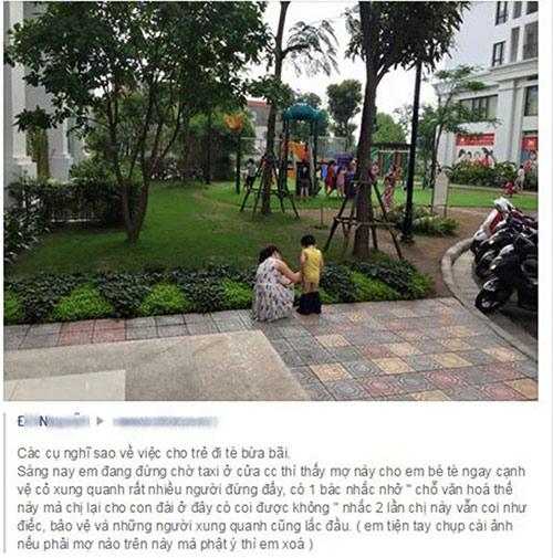 Những hình ảnh xấu xí khi mẹ Việt cho con 'tè bậy' nơi công cộng-2