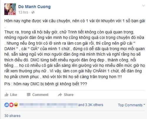 ntk do manh cuong bat ngo noi ve trinh tiet nguoi phu nu tren facebook ca nhan - 1