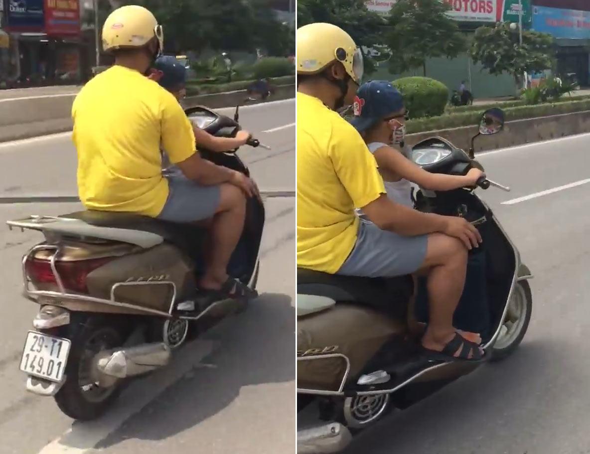 clip: thot tim xem be trai lai xe may vi vu giua hn - 1
