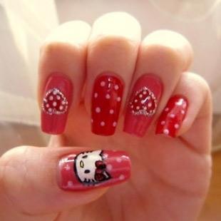 Dễ thương mẫu nail Hello Kitty 2011 - 11