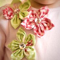 Cô bé kẹo ngọt với hoa vải đính áo